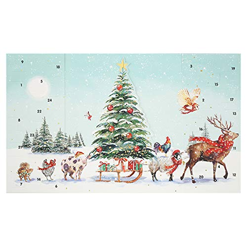 Ling Designs Advent Calendar CHRISTMAS PROCESSION Animals in the Snow with 24 Doors and White Mailing Envelope 240 x 400mm