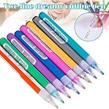 Dastrues Highlighter Marker Pen, 8 Colors Double Line Outline Pen for Writing Drawing for Writing Note Taking Calendar Agenda Coloring Art Office Supplies
