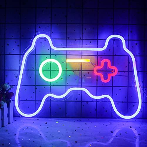 Wanxing Game Neon Sign Gamepad Controller Letreros de neón Decoración de sala de juegos Consola de juegos azul Luces de neón para niños Cool Game Room Decoración interior 16 'x 12'