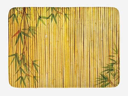 Lunarable Bamboo Bath Mat, Yellow Colored Bamboo Background with Tree Branches Exotic Plants Peaceful Artwork, Plush Bathroom Decor Mat with Non Slip Backing, 29.5