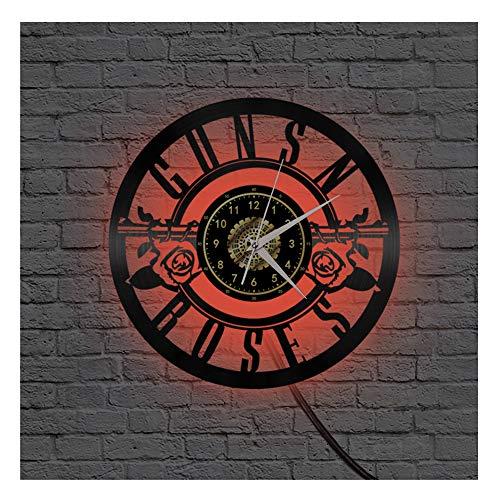 ZhangXF Orologio da Parete in Vinile Guns N 'Roses 12 Pollici Orologio Decorativo Telecomando Orologio Notturno A LED con Design Quadrante Oro Il Miglior Regalo di Compleanno Regalo di Natale,F