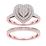 2Pcs/set Heart Rhinestone Rings for Women, Stackable Ring Bands Engagement Wedding Anniversary Jewelry Ring with Crystal,Gift for Valentine's Day/Birthday/Chirstmas (Rose Gold, 7)