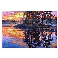 1000ピース ジグソーパズル アート 絵画 夕暮れの風景 湖 森 鳥 日没 ジグソーパズル 木製パズル Puzzles 50x75cm(6歳以上が適しています)