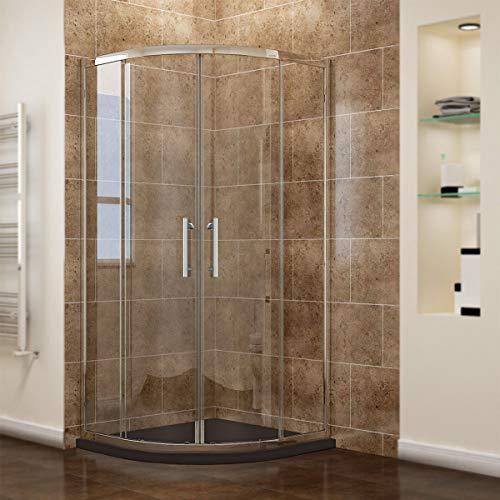 Viertelkreis Duschkabine 90x90 Duschabtrennung mit Rahmen Runddusche Schiebetür Dusche Duschwand, NANO Glas, Höhe 195cm