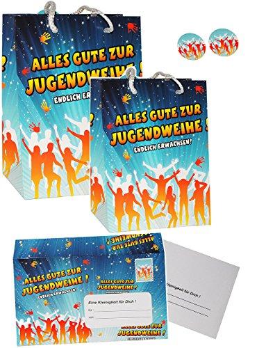 Set _ XL Umschlag & Karte & 2 Geschenkbeutel -  Alles Gute zur Jugendweihe !  - für Glückwünsche, Gutschein / Geldgeschenk - Jugend Fest & Feier / Jugendfei..