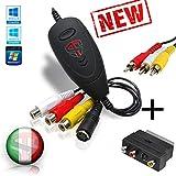 TECHSIDE Convertitore Vhs Analogico Digitale COMPLETO (Adattatore Scart + cavi RCA) | Nuov...