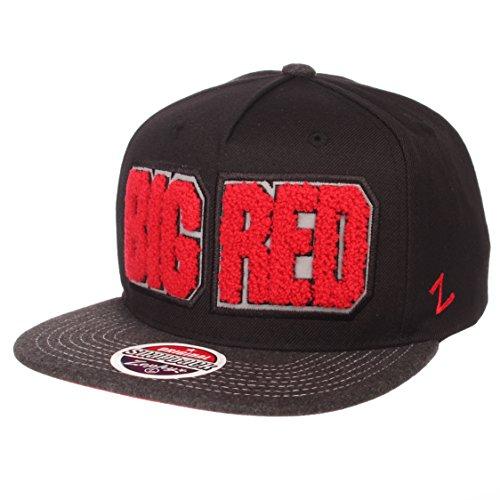 NCAA Zephyr Nebraska Cornhuskers Mens Jock Snapback Hat, Adjustable, Gray/Team Color
