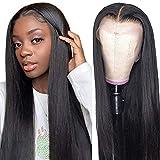 Parrucca donna capelli veri umani lunghi T part lace front wig parrucca nera liscia human hair wigs straight 20inch(50cm)