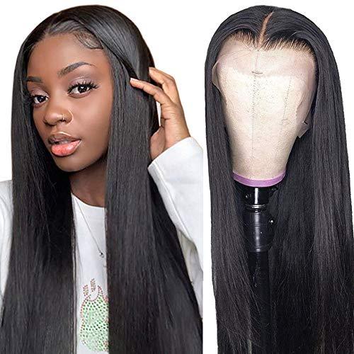 Perruque cheveux humain naturels T shape part perruque lace front wig human hair perruque lisse noir cadeau noel femme 24inch(60cm)