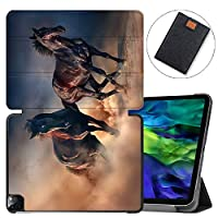 """MAITTAO Magnetic Smart Case for iPad Pro 11 inch 2020, Support Apple Pencil Wireless Charging with Auto Sleep/Wake, Leather Stand Cover for New iPad 11"""" 2020 A2228 / A2231,Akhal-Teke Horse 12"""