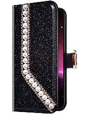 Uposao Samsung Galaxy J6 Plus 2018 Funda Libro con Tapa de Cuero, Purpurina Funda Diamante Glitter Brillante Perlas Corazón Patrón Carcasa Billetera Tarjetero,Cierre Magnético,Soporte Flip Case,Negro