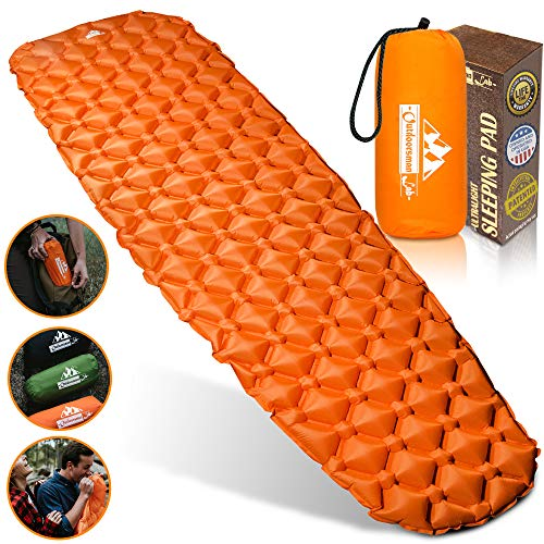 Outdoorsman Lab Inflatable Sleeping Pad – Ultralight, Compact Inflating Pads -...