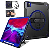 Miesherk iPad Pro 12.9 Case 2020 4th Generation/ 2018 3rd Gen (Wireless Apple Pencil Charging) Military Grade Shockproof Full-Body Protective Cover with 360° Rotating Stand&Hand/Shoulder Strap Blue