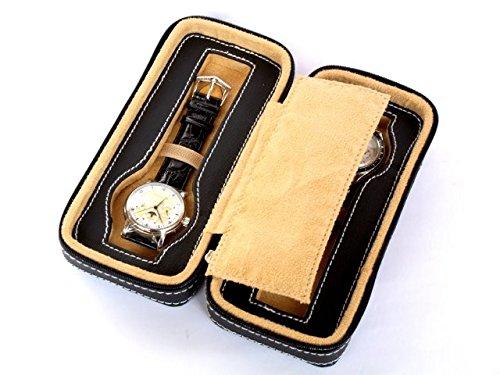 Astuccio con cerniera per 2 orologi, in ecopelle
