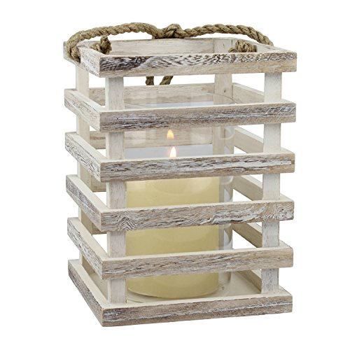 Stonebriar Wooden Beach House Candle Lantern with Rope Handle and Removable Glass Cylinder Hurricane, MEDIUM, Worn White