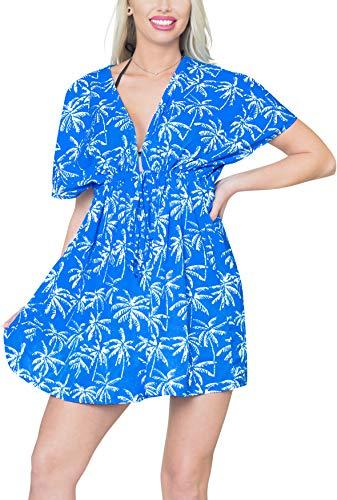 LA LEELA damskie chusty plażowe z nadrukiem i przykrycia damskie dekolt w serek Bohemia sukienka plażowa z krótkim rękawem boho sznurek stroje kąpielowe na wakacje stroje plażowe bikini luźny kostium kąpielowy