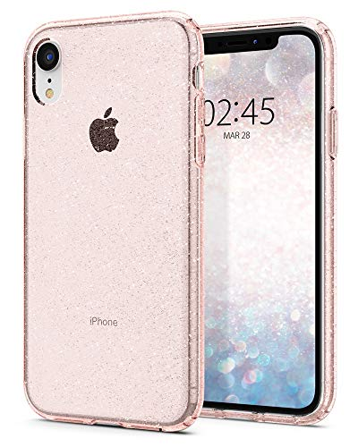 Spigen [Liquid Crystal Glitter Cover iPhone XR, Estremamente Sottile Puro Trasparente per iPhone XR 6.1-inch (2018) - Crystal Quartz (064CS24867)