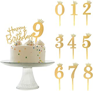ANYI16 Acrylic Numbers 0-9 Crown Cake Topper and Gold Acrylic Happy Birthday Cake Toppers for Wedding Anniversary or Birth...