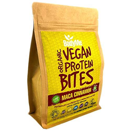 BodyMe Organic Vegan Protein Snacks Bites | Raw Maca Cinnamon | 100 Protein Snack Bites | 27 Percent Protein | Gluten Free | 3 Plant Proteins | All Essential Amino Acids | High Protein Vegan Snacks