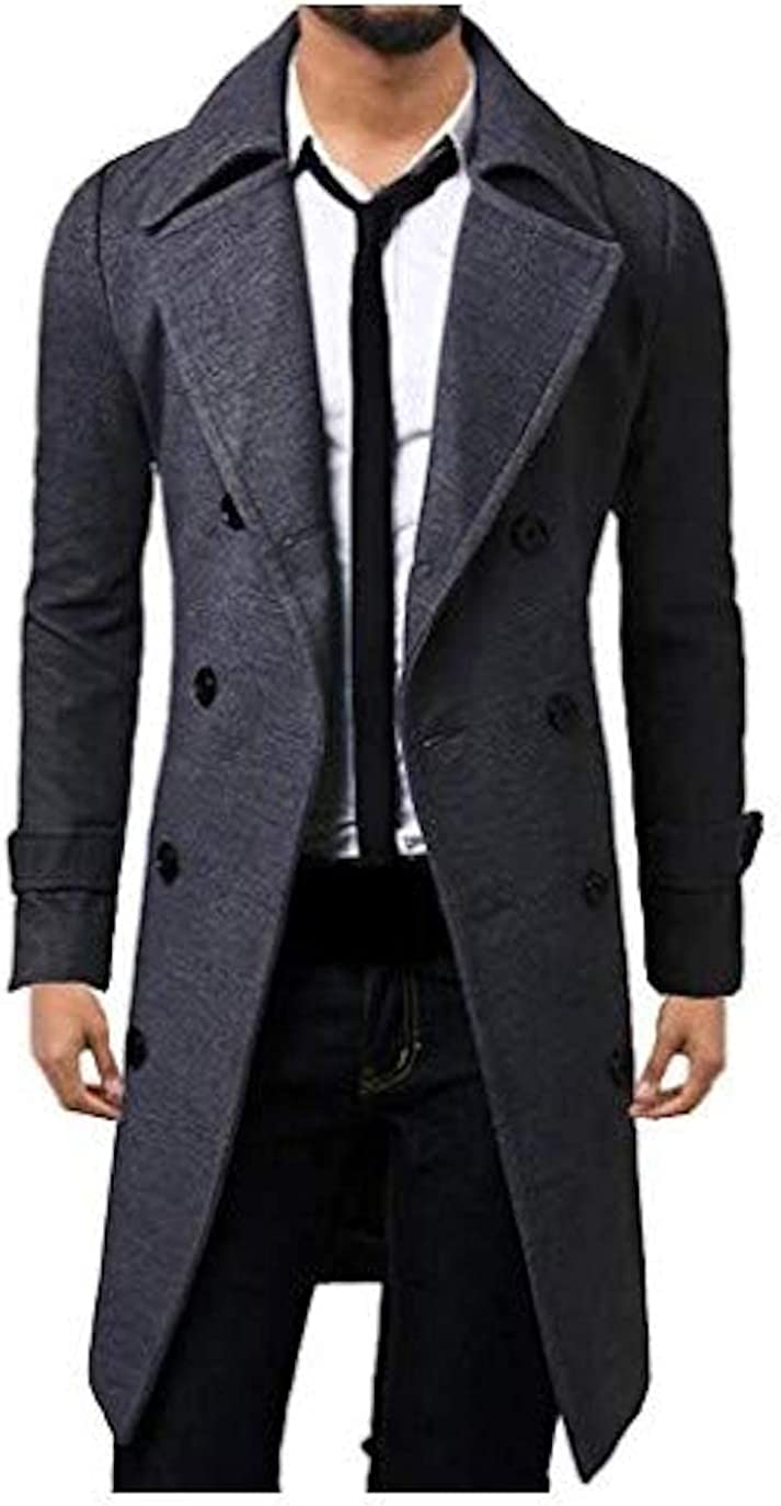 WSLCN Mens Winter Trench Coat Long Jacket Double Breasted Overcoat Grey M