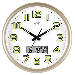 Kpin Luminous Silent Non-Ticking Large 14-Inch Wall Clock Decorative for Indoor/Bedroom/Office of Large Number Battery Operated Oversized Date Day Indoor Temperature LCD Display(Gold, 14 LCD)
