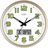 Kpin Silent Non-Ticking Large 14-Inch Wall Clock Night Lights for Indoor/Bedroom of Large Number Battery Operated with LCD Display(Gold, 14