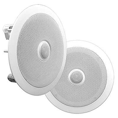 Pyle PDIC80 Home Ceiling Speaker System Wall Mount Speakers Pair of 2-Way Midbass Woofer Speaker - White by Pyle