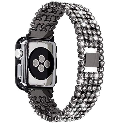 Adecuado para Apple Watch Series 1/2/3/4/5 generaciones Edición deportiva Correa de acero inoxidable de cinco cuentas con incrustaciones de diamantes compatible con Iwatch38 / 40/42 / 44mm