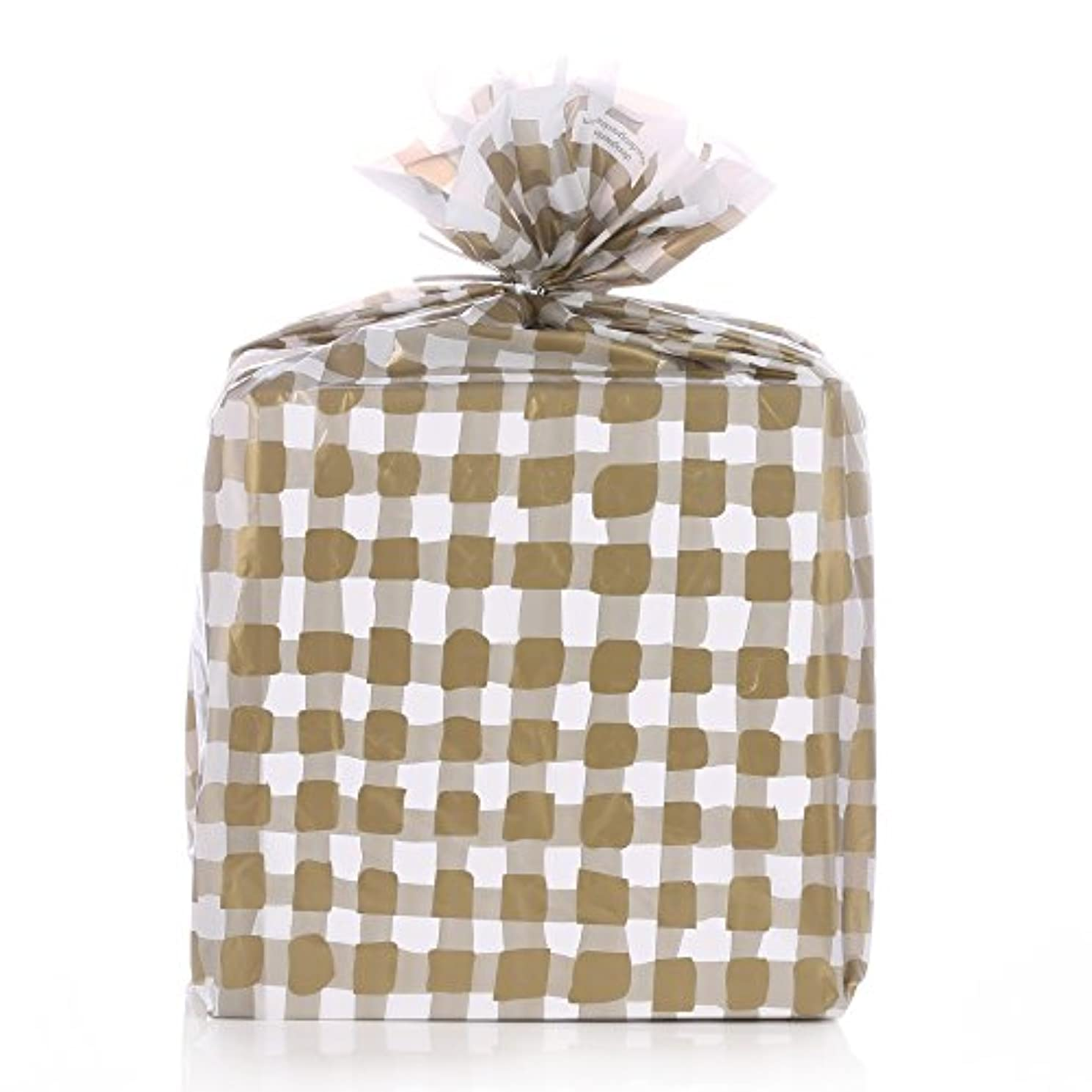 Reusable Gold Gingham Plastic Gift Wrap Bags - Reuse as Pretty Trash Bags - 10 Count - 21