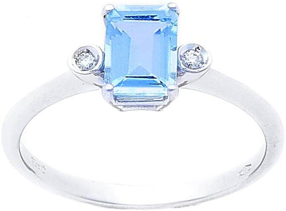 Anelie gioielli - anello donna in oro bianco 18 kt con acquamarina naturale e diamanti brillanti ANPA161A-16