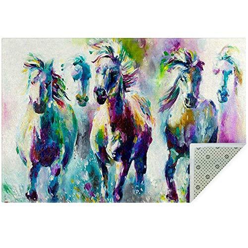 Bennigiry Teppich mit farbigem Pferdegemälde, weich, groß, rutschfest, für Wohnzimmer, Schlafzimmer, Spielzimmer, 152 x 91 cm, Polyester, Multi, 150x100cm/59x39in