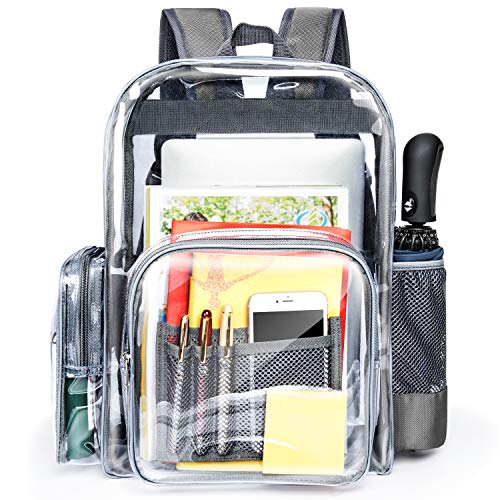 Clear Backpack, Packism Large Clear Heavy Duty Backpack with Reinforced Straps, Waterproof Oxford Fabric Bottom Clear School Backpack for Adults, Boys, Girls, Stadium, School
