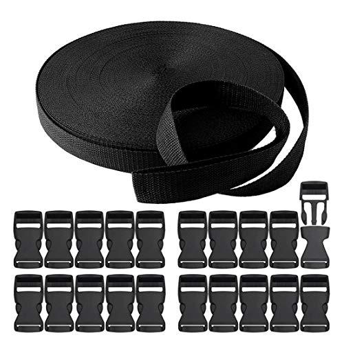 RETON 20MM 10 Yards Schwarz Nylon Gurtband + 20 Stück Verstellbare Schnallen Kunststoff Seitenschnallen