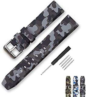 Narako Camouflage Silicone Rubber Watch Band 20mm 22mm 24mm Waterproof Replacement Divers Watch Strap for Men and Women
