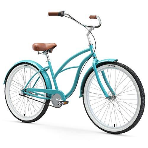Cheapest Prices! sixthreezero Women's 3-Speed Beach Cruiser Bicycle, Breathe Blue w/ Brown Seat/Grip...