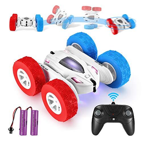 Ferngesteuertes Auto, 4WD RC Stunt Auto Doppelseitige 360°Drehung Fahrzeuge RC Offroad Spielzeug mit 2 wiederaufladbare Batterien, Spielzeug Geschenke für Kinder Jungen Mädchen (White)