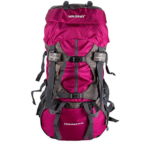 WASING 55L Internal Frame Backpack Hiking Backpacking Packs for Outdoor Travel Climbing Camping Mountaineering with Rain Cover - Red