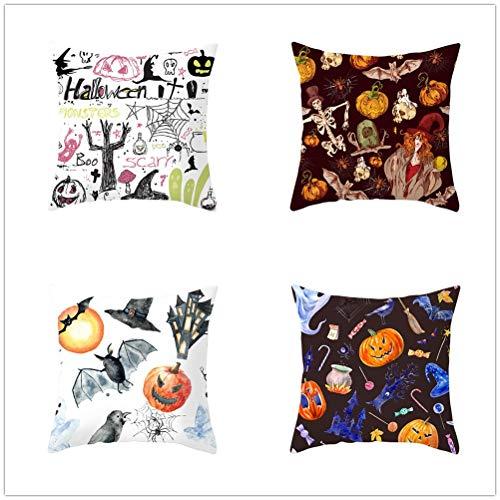LOYYE 4 pcs Fundas de Cojín Decorativos Calabaza de Halloween Cuadradas Terciopelo Suave Funda de Almohada Cubierta para Cojines Sofá Cama Habitación Decor Throw Pillow Case E4634 60x60cm/23.4x23.4in