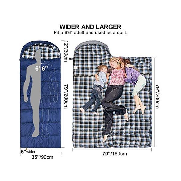 Saco de dormir de franela de algodón para adultos, 23/32F cómodo, sobre con bolsa de compresión, azul/gris, 2/3/4 libras… 2