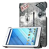 Zrengp Ultra Slim Folio Stand Luxury Leather Case with Sleep Wake Up Function Smart Cover for Acer Iconia One 8 B1-850 B1-860 B1-870 / One8 B1-860A 8' (Iron Tower)