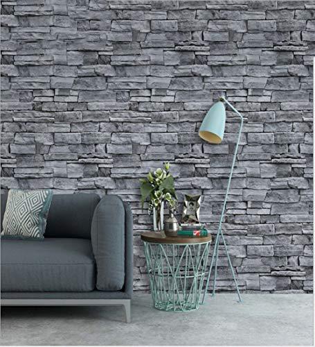 HMPSZ Steintapete 3D Tapete Steinoptik Grau Selbstklebende Naturstein Effekt Dekorfolie 0.45 x 6m, Möbelfolie Geeignet Für Wohnzimmer Schlafzimmer Küche