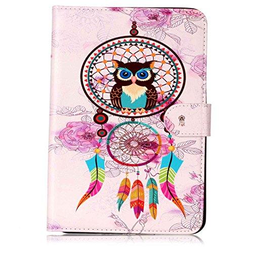 E-Mandala Samsung Galaxy Tab A SM-T580/T585 (2016) Hülle Leder Flip Case Tablet PC Tasche mit Kartenfach Ledertasche Lederhülle - Traumfänger Feder Eule