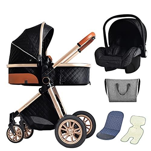 XYSQ Carrito Bebe 3 En 1, Carros para Bebes, Incluye Cochecito De Bebé con Asiento Reversible, Almacenamiento Adicional, Un Pliegue De Mano, Altos Paisajes Y Cochecitos Fashionales (Color : Black)