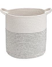 Emooqi, grote katoenen touwmand, gevlochten manden, duurzaam met handgreep, speelgoed, opbergdoos voor thuis, opbergdoos van katoen touw voor het organiseren van wasmand