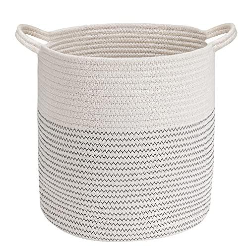 Emooqi Cesta Extra Grande, Cesta de Almacenamiento de Lavandería Plegable Cuerda de Algodón, – Ideal para Colada,Baño,...