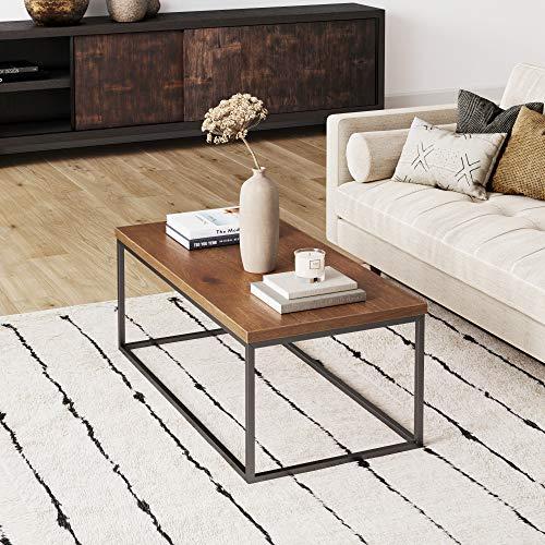 Nathan James Doxa Modern Industrial Coffee Table Wood and Metal Box Frame, Dark Brown/Black