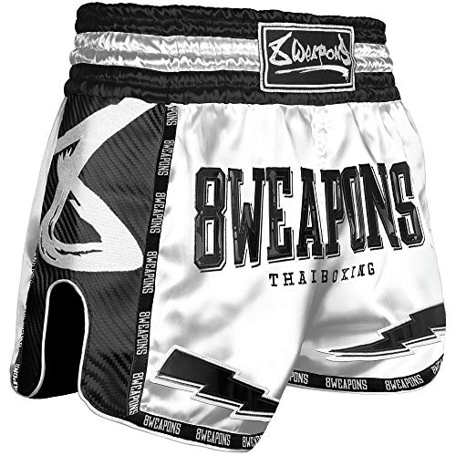 8 Weapons Muay Thai Shorts, Carbon, Snow Night, weiß (XL)