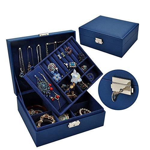 JIAJBG Caja de almacenamiento clásica para joyas, caja de joyería de doble almacenamiento, almacenamiento de relojes, pasta de madera maciza, cierre de cinturón simple para joyas, 9 x 19 x 24 cm