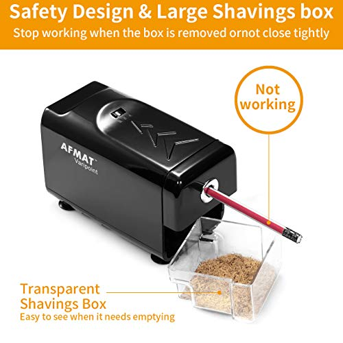 AFMAT Heavy Duty Pencil Sharpener, Electric Pencil Sharpener Commercial, Auto Stop, Super Sharp & Fast & Quiet, Industrial Pencil Sharpener for 6-8mm No.2/Colored Pencils/Office/Home/Classroom Photo #6