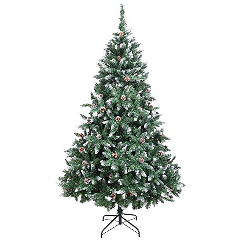 VINGLI Upgraded 6ft Artificial Christmas Tree w/1000 Branches, Full Unlit Xmas Flocked Snowy Pine Cone Tree with Sturdy Metal Stand (6ft)